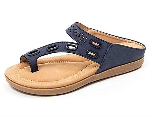 SKYWPOJU Chanclas de Playa y toboganes de Piscina, Sandalias de Verano para Mujer, cuñas Planas, Tacones pequeños para Mujer, Zapatos de Seguridad de Verano para Mujer, Planos