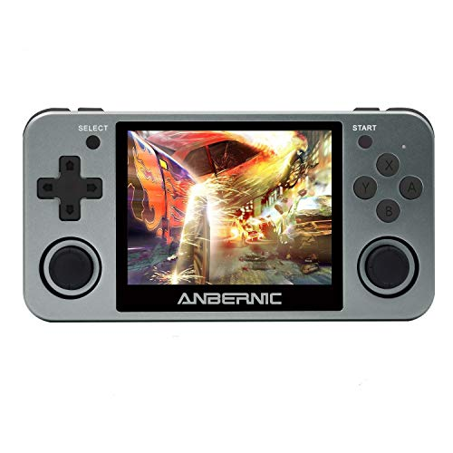 BAORUITENG RG350M Handheld Game Console with Opening Linux Tony System HDMI Output 64Bit 3.5inch IPS Screen , Retro Game Console with 32G TF Card 2500 Classic Games Portable Video Game Console (Grey)