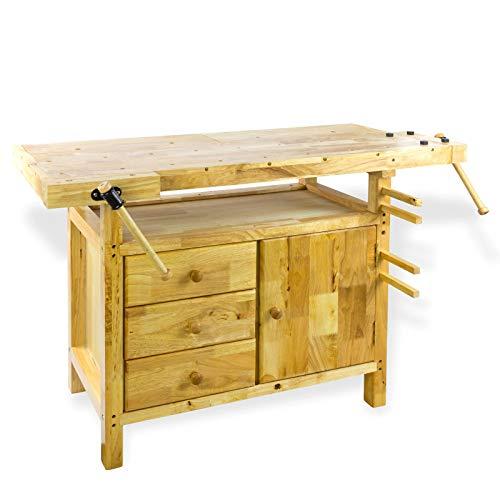 Hobelbank Werkbank Holz Narvik 125x50x85 cm