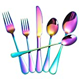 Rainbow Silverware Set,24-Piece Stainless Steel Colorful Flatware Set,Cutlery Tableware Set for 4,Utensils for Kitchens,Mirror Finish,Dishwasher Safe
