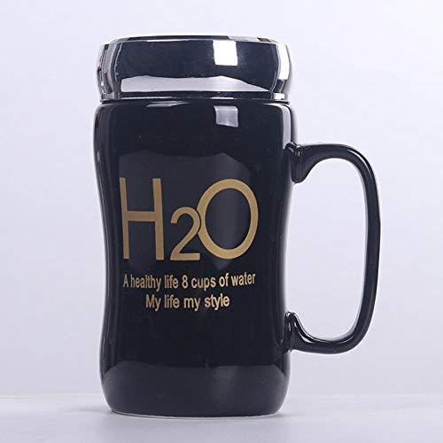 AOARR Trinkbecher Helle Schwarz-Weiß-Spiegelisolierung Keramikbecher 450Ml Einfacher Becher Mit Deckel Studentenbecher Milchtee Kaffeetasse-H2O