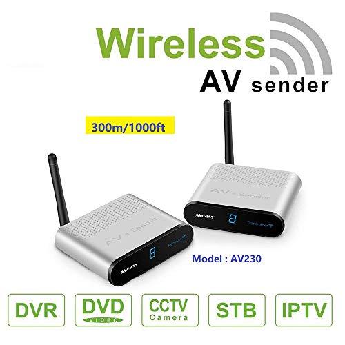 measy AV230 2,4 GHz Wireless AV Sender Transmitter Empfänger (RCA) bis zu 300 M/1000 Füße mit IR-Rückkopplungsfunktion