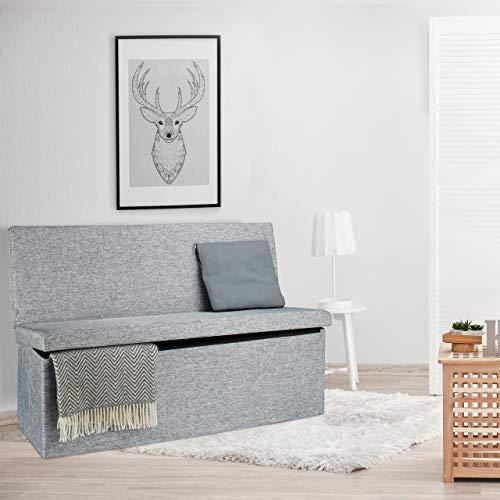 Relaxdays Faltbarer Sitzhocker mit Lehne XL HBT 73 x 114 x 38 cm stabiler Sitzcube als Fußablage Sitzbank und Sitzwürfel aus Leinen als Aufbewahrungsbox mit Stauraum mit Deckel für Wohnraum, grau - 3