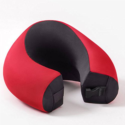 XiaoXIAO U-shaped Neck Pillow Office Nap Memory Foam Support Neck Head Cushion Portable Travel Pillow Lightweight Soft 4 Colors Travel Pillow (Color : Red)