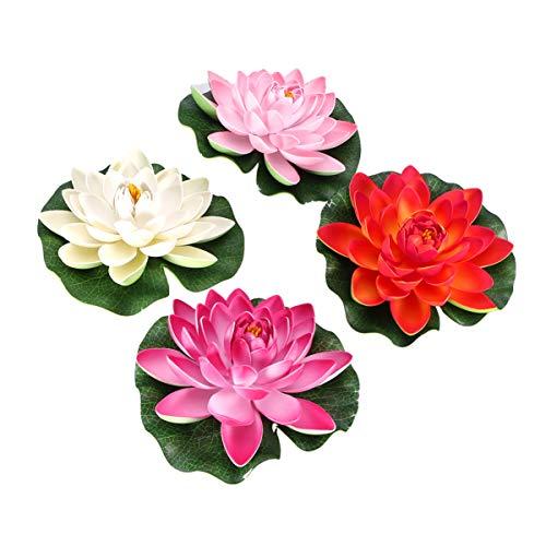 KESYOO 4 Stücke Künstliche Lotus Lotusblume Schwimmende Seerose Lotusblüte Lotusblatt für Garten Deko Gartenteich Pool Aquarium Fisch Teich Wasserpflanzen