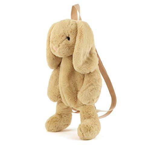 Cute Fuzz Plush Animal Teddy Bear/Panda/Dog/Kangaroo/ Penguin Backpack Bags Toys for Toddles (Khaki Rabbit)
