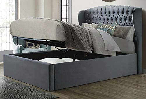 Save On Goods Velvet grey ottoman fabric upholstered buttoned storage gas lift up bed frame. Front lift up underbed storeage bed frame. (5ft King Size, Bed Frame + Ortho Firm Mattress)