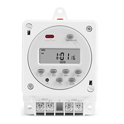 HehiFRlark 12V 220V Interruptor de Temporizador Digital 7 días Programador de relé de Tiempo programable Blanco 12V