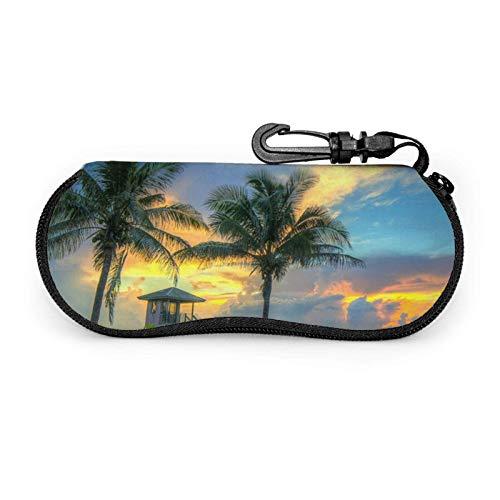 AEMAPE Estuche para gafas Coconut Tree Beach Unisex Portátil Neopreno Cremallera Gafas de sol Estuche blando
