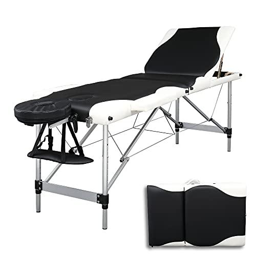 Table de Massage Pliante Professionnel en Aluminium, Lit Cosmétique 3 Sections Massage Portable Ergonomique, Noir avec Bord Blanc