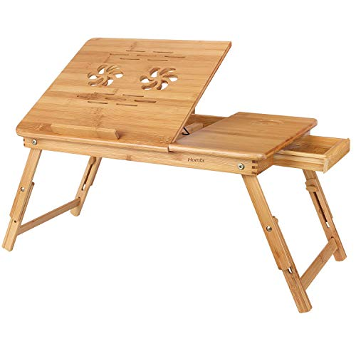 HOMFA Bamboo Laptop Desk Adjustable Portable Breakfast Serving Bed Tray Multifunctional Table with Tilting Top Storage Drawer