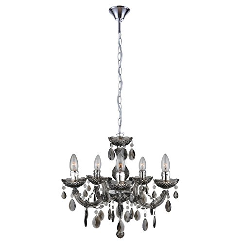 mirrea Mini Black Crystal Chandelier 5 Lights Crystal-Like Acrylic Plastic