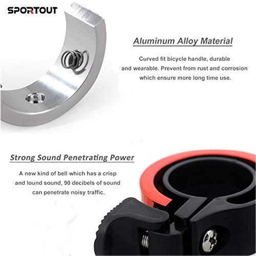 Sportout Aluminiumlegierung Innovative Fahrradklingel Fahrrad Ring mit Lauten Klaren Klaren Kla, für Lenker von 22,2 bis 24,8(Schwarz) - 6