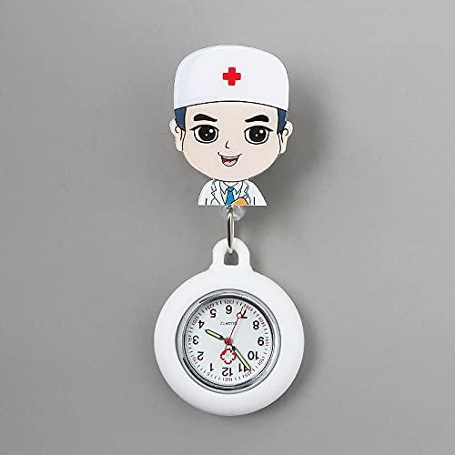 YYMY Médico Reloj de Movimiento Cuarzo,Cofre de Enfermera Lindo luz de Noche, atención médica telescópica Impermeable-Blanco 10