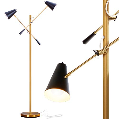 Brightech Ella - Mid Century Modern, Gold LED Floor Lamp with Two Arms -Standing Light for Living Room, Office, Crafts & Tasks - Enjoy Sewing, Puzzles - Gold/Brass & Black