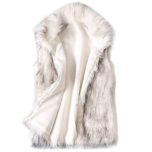 POLP Abrigos mujer Abrigos Pelo Mujer Invierno Abrigos Mujer Invierno Elegantes Chaquetas Pelo Chalecos Mujer Invierno Chaleco de Mujer para Cuello Abrigo de Pelo Mujer sin Mangas Chaleco