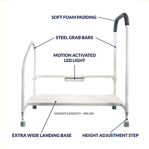 Step2Bed Bed Rails For Elderly with Adjustable Height Bed Step Stool amp LED Light for Fall Prevention  Portable Medical Step Stool comes with Handicap Grab Bars making it easy to get in and out of bed