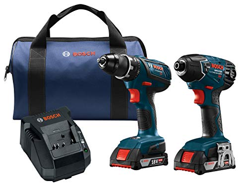 Bosch Power Tools Drill Set - CLPK232A-181 18-Volt Cordless Drill Driver/Impact Combo Kit with 2 Batteries, 18V Charger and Soft Carrying Case