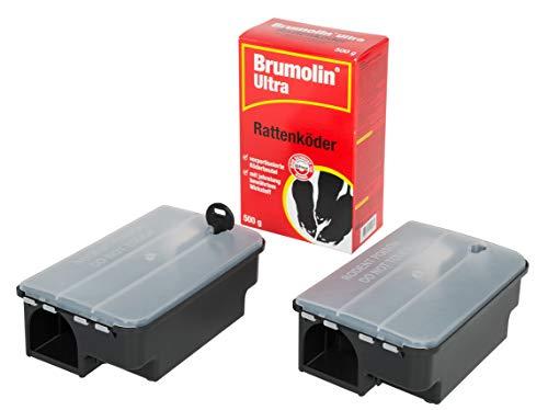 Köder-Discount Sparset Rattenbekämpfung - 2 Köderboxen Plus 500g Brumolin Ultra Rattengift Rattenportionsköder, Rattenbekämpfung und Ratten Köderbox für Rattengift, sichere Ausbringung Rattenködern