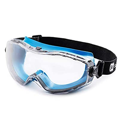 SolidWork Safety Goggles with Universal Fit | Eye Protective Safety Glasses for Construction Work | Scratch Resistant Goggle with UV-Protection and Anti-Fog | For Men & Women | Clear Lens | Blue from SolidWork