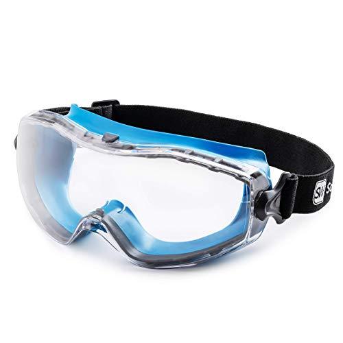 SolidWork - Gafas protectoras de seguridad con ajuste universal, para trabajos de construcción, resistentes a los arañazos, con protección UV y antivaho, unisex, lentes claras, color azul