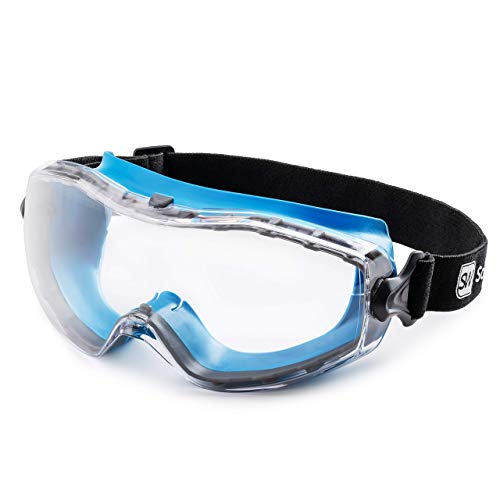 SolidWork Safety Goggles with Universal Fit | Eye Protective Safety Glasses for Construction Work | Scratch Resistant Goggle with UV-Protection and Anti-Fog | For Men & Women | Clear Lens | Blue
