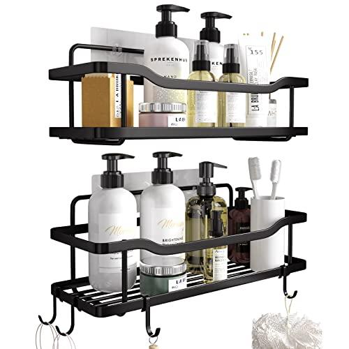2-Pack Adhesive Shower Caddy, Shower Shelf, No Drilling Rustproof Stainless Steel OMAIRA Shower Organizer for Inside Shower & Kitchen Storage (Matte...