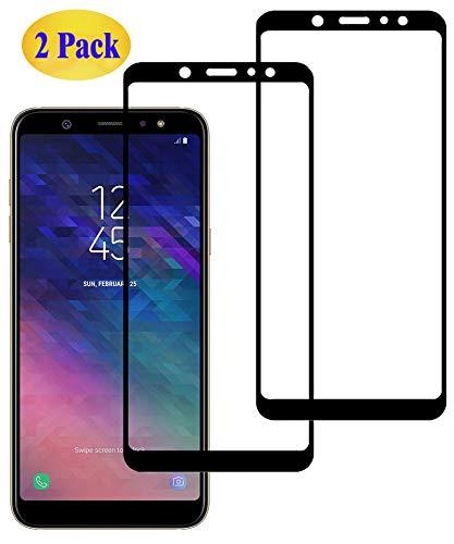 Eachy Verre Trempé Samsung Galaxy A6 Plus 2018 Film Protection, [2 Pièces] Samsung A6 Plus 2018 (SM-A605) Protection Ecran Couverture Complète Protecteur d'écran 6.0 Pouces Bord à Bord 0.33mm-Noir