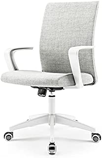 NOVELLAND Office Desk Chair with Adjustable Height - White Mordern Arms Chair - Swivel Computer Home Task Chairs Grey (Whi...
