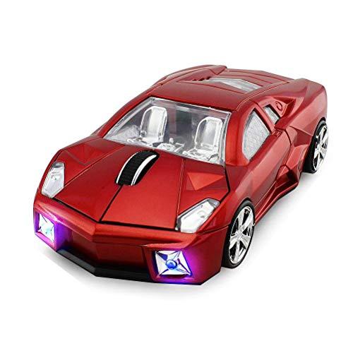 STAR-LINK Kabellose Auto-Maus Cooles 3D-Rennen 2,4-G-Mäuse mit 1600DPI Ergonomisches Design Optische USB-Gaming-Maus mit Scheinwerfer für PC Computer Laptop Notebook Office Rot