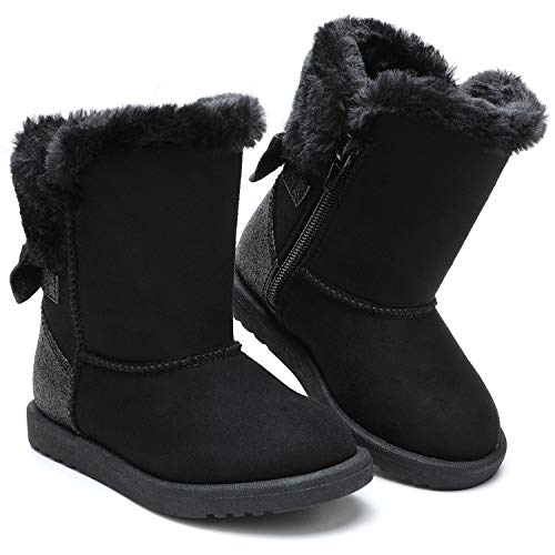 tombik Toddler Snow Boots for Girls Warm Fur Lined Winter Boots Black 12 US Little Kid