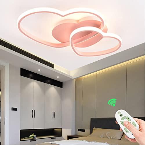 Plafoniera LED dimmerabile, plafoniera moderna semplice a forma di cuore, plafoniera in acrilico in soggiorno, camera da letto, camera dei bambini (pink,50cm)