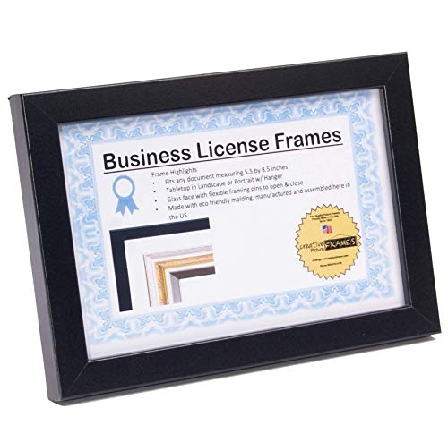 CreativePF [5.5x8.5bk] Professional Black Business License Certificate Frame, Holds 5.5x8.5-inch Media, Self-Standing with Wall Hanger