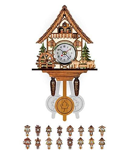 Reloj de pared Reloj cucú de cuarzo Casa de la selva Negro, reloj de cuco de la batería Operado movimiento de cuarzo de cuco de llamadas con móvil bebedor de cerveza de 115 × 225 × 50 mm, H (Color: H)