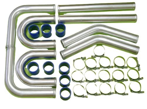 Burstflow Intercooler universal de calefacción, set de instalación de 2,5 pulgadas, 63 mm, color azul