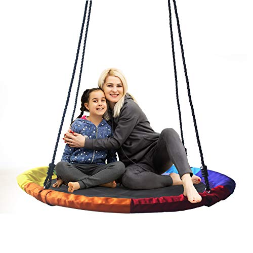 Ancaixin 40 pulgadas platillo árbol swing volando 700 lb capacidad de peso ajustable cuerdas multihilo, seguro, duradero fácil de instalar 900D Oxford asiento oscilante para niños adultos (6 colores)