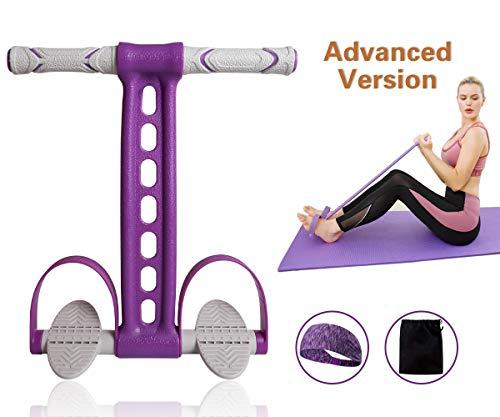 Pedal Resistance Band Elastisches Zugseil Fitness Sit-up-Übung zu Hause Fitnessstudio Yoga Workout-Ausrüstung Multifunktionspedalarm Beintrainer Abnehmen Bodybuilding Bauchmuskeltraining (Violett)