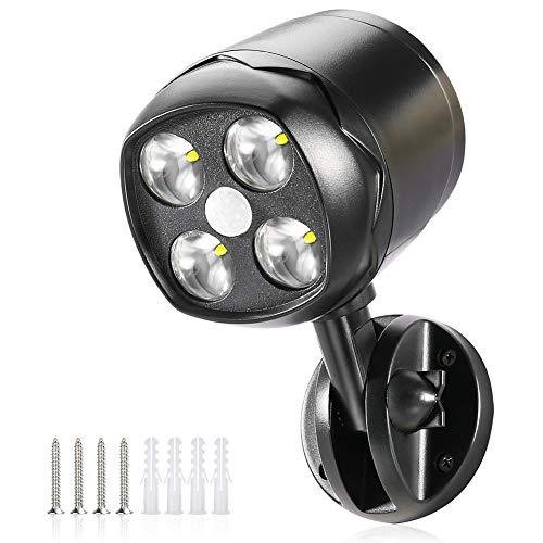CrazyFire Aussenlampe mit Bewegungsmelder,IP65 Wasserdicht 600lm LED Strahler Bewegungsmelder außen, Flexibel Bewegungsmelder mit Batterie