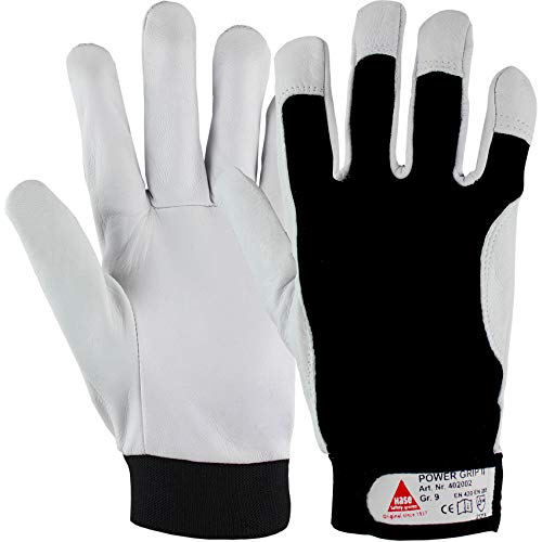 Hase Safety Gloves Power Grip II Leder-Mechaniker-Handschuhe, Arbeitshandschuhe aus Nappaleder Größe S (07)