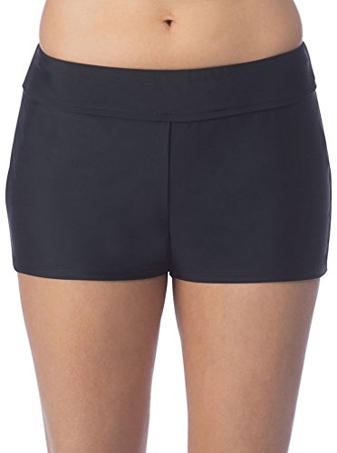 Ocean Avenue Women's Solid Wide Band Boyleg Short Bikini Bottom, Black, L