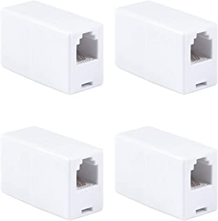 GE White Ethernet Cable Extender, 4 Pack, RJ45 Coupler, Compatible with CAT5 CAT5E CAT6, Home or Office, Works with Modems, Routers, Hubs, 46087