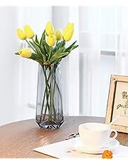 Lewondr Florero de Vidrio con Decoración de Borde Dorado, Florero Decorativo Elegante Estilo Ins de Cristal, Adecuado para Colocar Diferentes Tipos de Ramos de Flores en Oficina y Hogar – Gris Ahumado