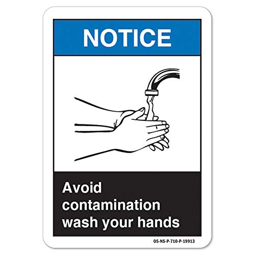 ANSI Notice Sign - Avoid Contamination Wash Your Hands   Peel and Stick Wall Graphic   Protect Your Business, Class Room, Office & Interior Surroundings OSHA Safety Sign   Made in The USA