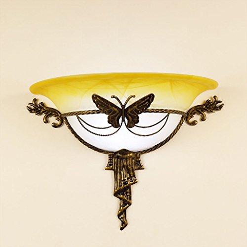 MAGO Eisen Wandleuchte mit Glasschirm, geschnitzte Schmetterlings-Kunst-Retro Deco-Leuchter, weißes Licht (Color : White)