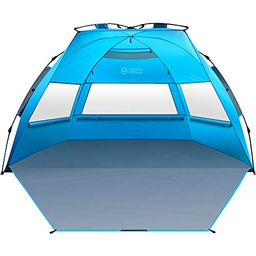 OutdoorMaster Pop Up 3-4 Person Beach Tent X-Large - Easy Setup, Portable Beach Shade Canopy Folding Sun Shelter with UPF 50+ UV Protection Removable Skylight Family Size - Blue
