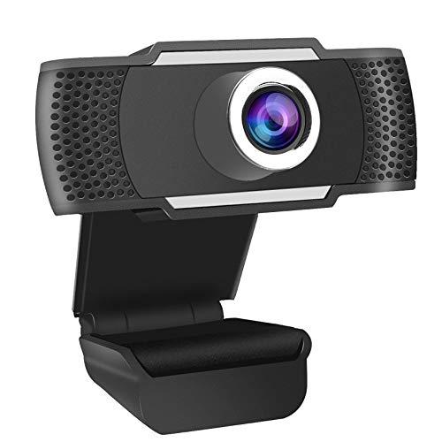 Webcam 1080P Full HD avec Microphone Stéréo Interface USB 2.0, Caméra Web avec Vidéo/Conférence/Émission Directe et Enregistrement, Compatible avec PC Laptop Desktop MacBook Windows Android iOS - Noir