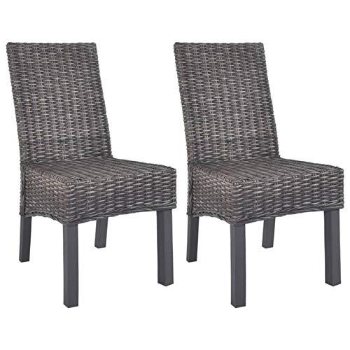 QWSX Design Semplice Moderna Kubu Rattan Dining sedie Set Mango Legno cornici for dell'interno for Sala da Pranzo Cucina Semplice e Design Handwoven Rattan Chair Alta qualità (Color : Brown)