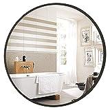 YMLSD Espejos, Espejos de Pared para Baño de Espejo de Pared Redondo Mediano Negro con M de Aleación de Aluminio de Espesor de 4 Cm, Espejo de Pared Decoración Moderna para el Hogar Moderno de Pared