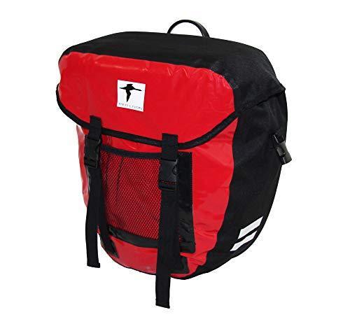 Red Loon Packtasche Gepäckträgertasche Fahrradtasche LKW Plane wasserdicht, Farbe:rot/schwarz