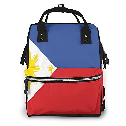 Bandera de Filipinas Orgullosa Gran Capacidad Multifunción Mummy Backpack Baby Pañal Bolsas para el Cuidado del Bebé